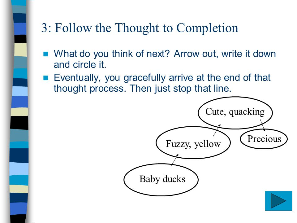 3: Follow the Thought to Completion What do you think of next.
