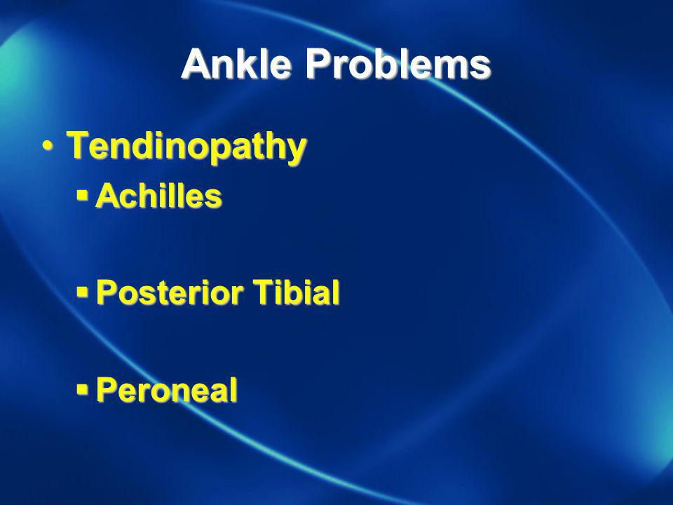 Stress Fractures Etiology Footwear Training Surface in intensity/distance or in training method Metabolic Hormone abnormality –Menstrual irregularity, oral contraceptives –Female Triad Calcium metabolism –Rickets: Vitamin D deficiency, renal tubular insufficiency, osteodystrophy, hypophosphatasia, Hyperparathyroidism