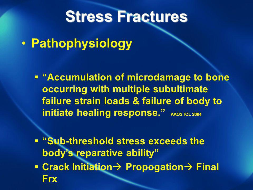Stress Fractures Pathophysiology Accumulation of microdamage to bone occurring with multiple subultimate failure strain loads & failure of body to ini