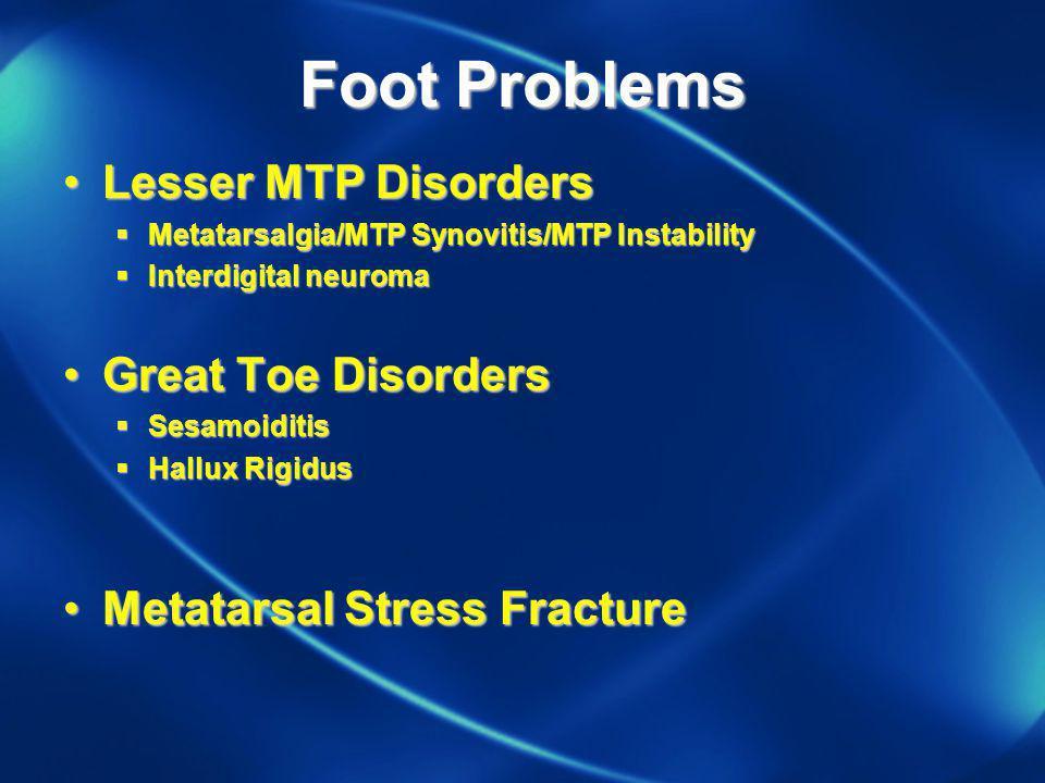Foot Problems Lesser MTP DisordersLesser MTP Disorders Metatarsalgia/MTP Synovitis/MTP Instability Metatarsalgia/MTP Synovitis/MTP Instability Interdigital Neuroma Interdigital Neuroma