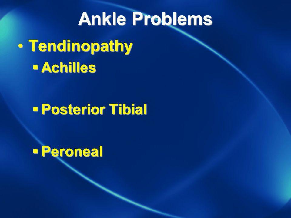 Ankle Problems TendinopathyTendinopathy Achilles Achilles Posterior Tibial Posterior Tibial Peroneal Peroneal