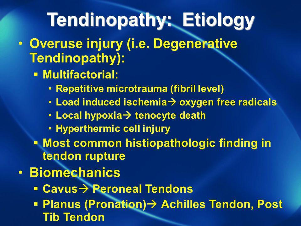 Tendinopathy: Etiology Overuse injury (i.e. Degenerative Tendinopathy): Multifactorial: Repetitive microtrauma (fibril level) Load induced ischemia ox