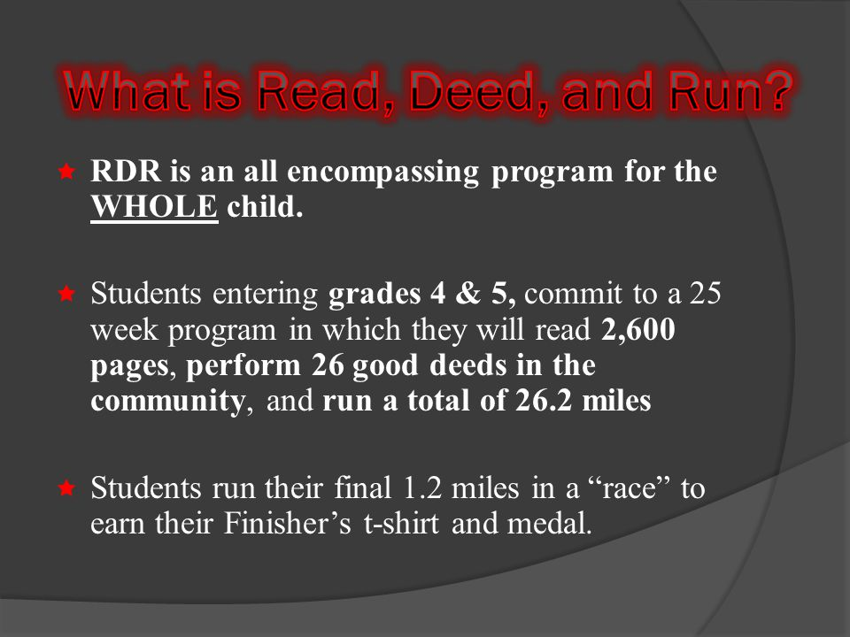 RDR is an all encompassing program for the WHOLE child.