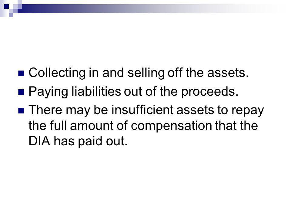 Collecting in and selling off the assets. Paying liabilities out of the proceeds.