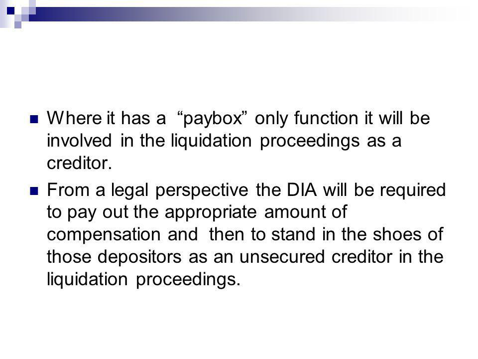 Where it has a paybox only function it will be involved in the liquidation proceedings as a creditor. From a legal perspective the DIA will be require
