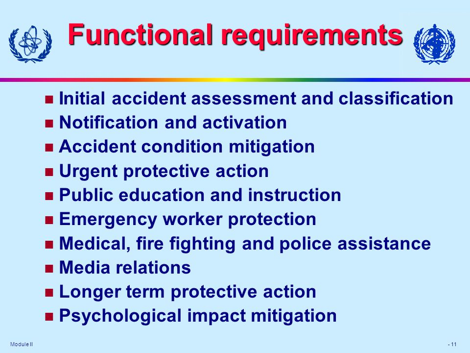 Module II - 11 Functional requirements Initial accident assessment and classification Notification and activation Accident condition mitigation Urgent