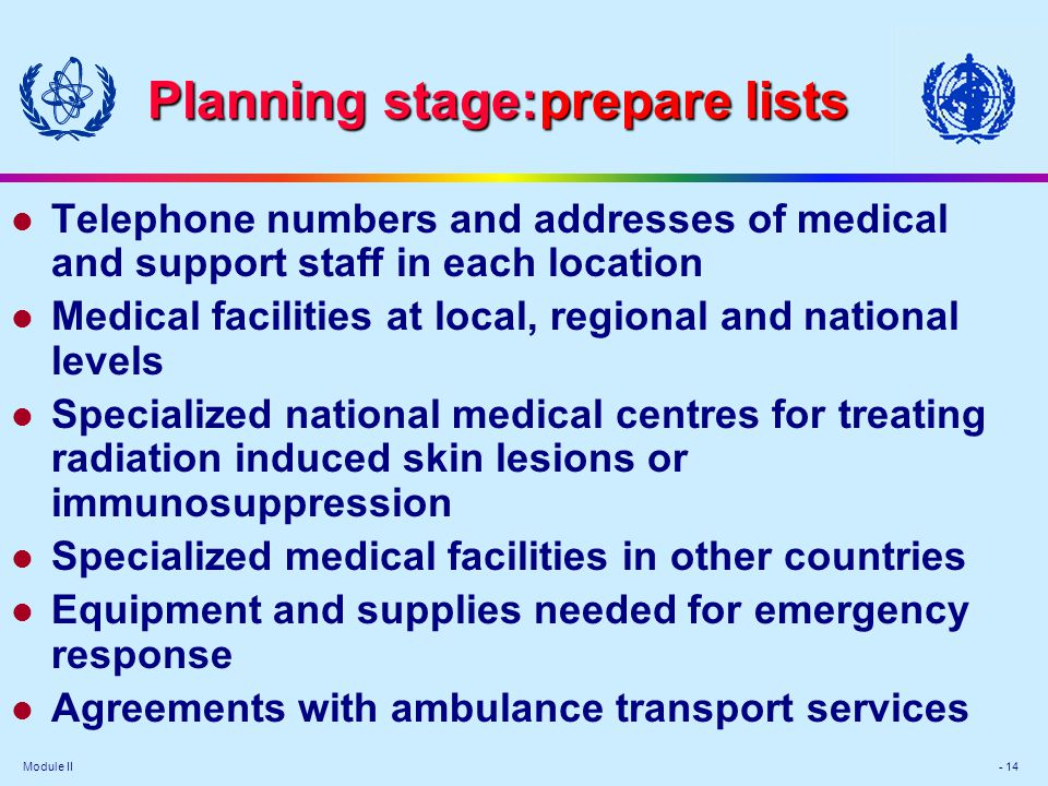 Module II - 14 Planning stage:prepare lists l Telephone numbers and addresses of medical and support staff in each location l Medical facilities at lo