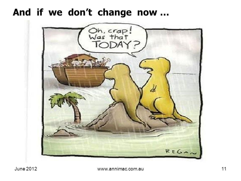June 2012www.annimac.com.au11 And if we dont change now …