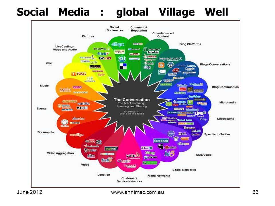 June 2012www.annimac.com.au36 Social Media : global Village Well
