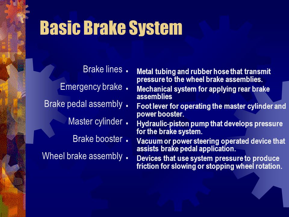 Master Cylinder – It is a foot operated pump that pumps brake fluid.