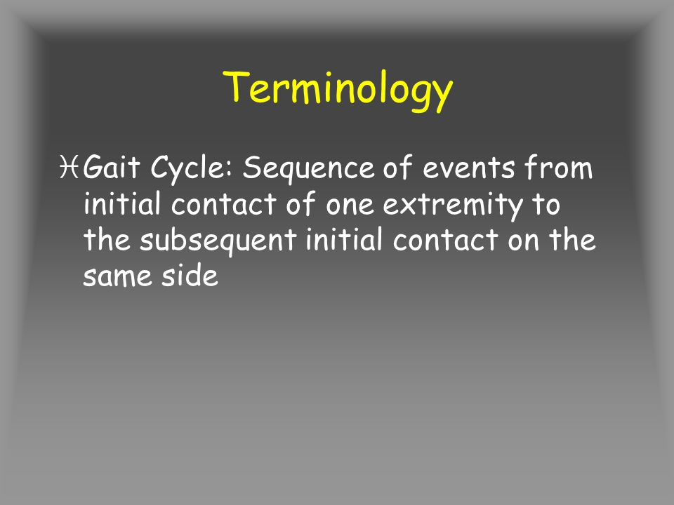 Terminology iGait Cycle: Sequence of events from initial contact of one extremity to the subsequent initial contact on the same side