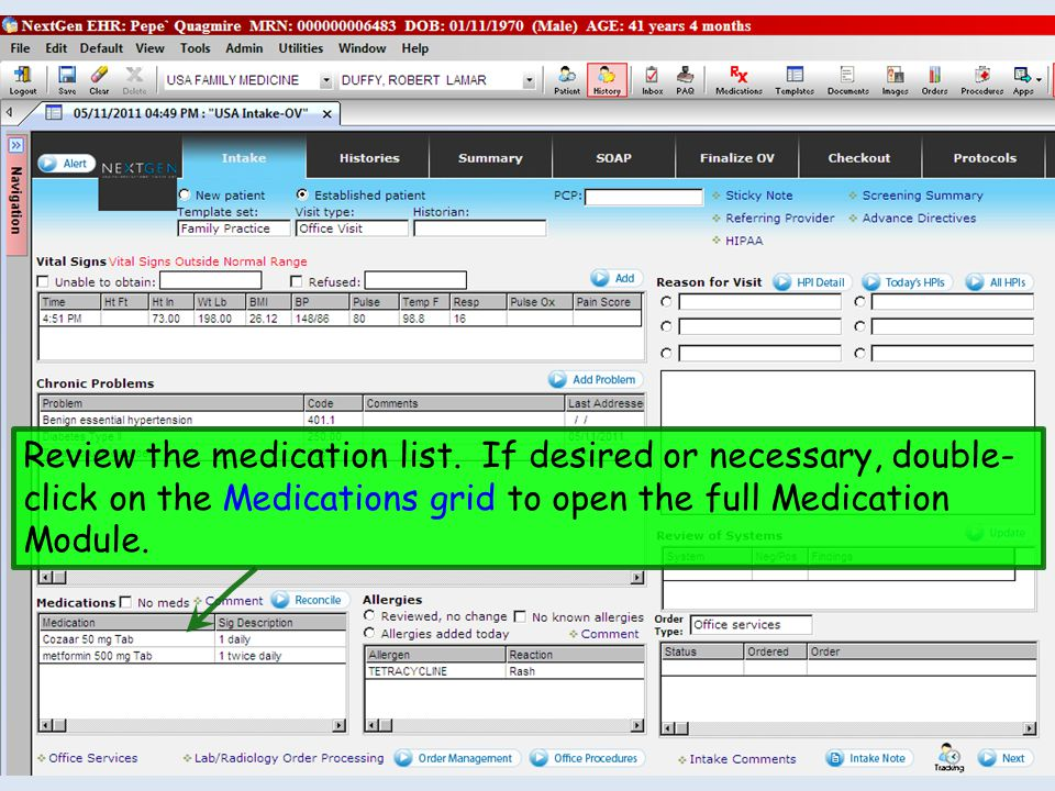 Review the medication list. If desired or necessary, double- click on the Medications grid to open the full Medication Module.