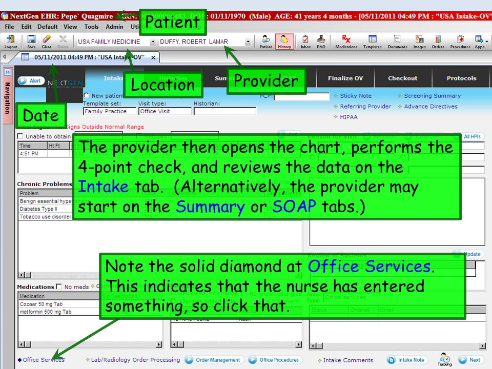The provider then opens the chart, performs the 4-point check, and reviews the data on the Intake tab.