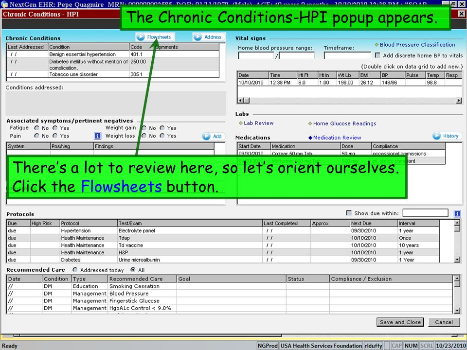 The Chronic Conditions-HPI popup appears. Theres a lot to review here, so lets orient ourselves. Click the Flowsheets button.