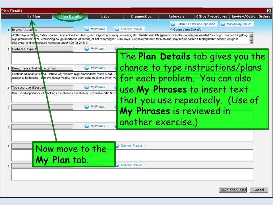 The Plan Details tab gives you the chance to type instructions/plans for each problem. You can also use My Phrases to insert text that you use repeate