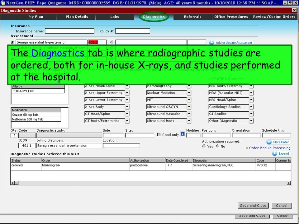 The Diagnostics tab is where radiographic studies are ordered, both for in-house X-rays, and studies performed at the hospital.