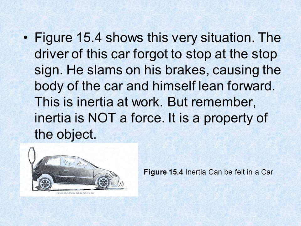 Figure 15.4 shows this very situation. The driver of this car forgot to stop at the stop sign. He slams on his brakes, causing the body of the car and