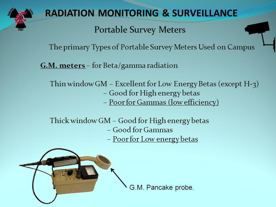 RADIATION MONITORING & SURVEILLANCE The meter survey Portable Survey Meters The Purpose of meter surveys is to, Assess radiation fields (mR/hr), using a dose rate meter.
