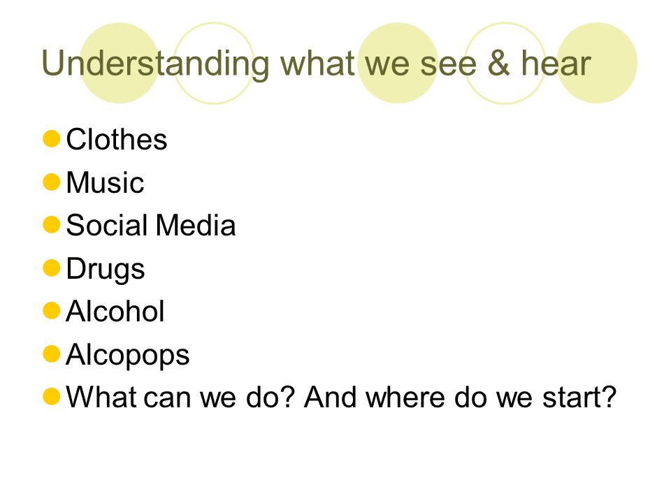 Understanding what we see & hear Clothes Music Social Media Drugs Alcohol Alcopops What can we do.