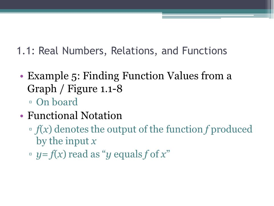 Example 5: Finding Function Values from a Graph / Figure 1.1-8 On board Functional Notation f(x) denotes the output of the function f produced by the
