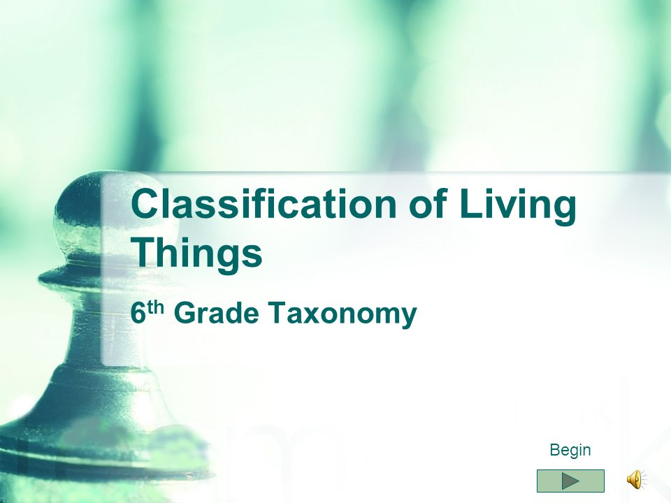 Classification of Living Things 6 th Grade Taxonomy Begin