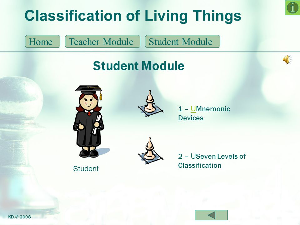 Classification of Living Things Mnemonic Devices HomeTeacher ModuleStudent Module KD © 2008 Many of you have used a mnemonic device throughout school to help you remember something.