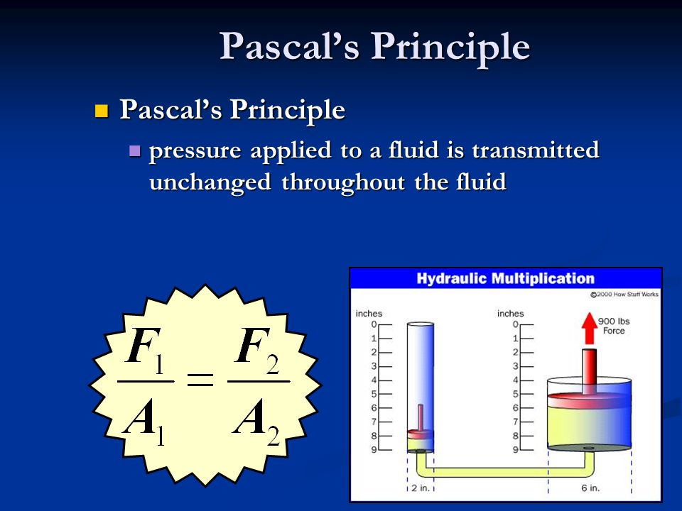 Pascals Principle Pascals Principle Pascals Principle pressure applied to a fluid is transmitted unchanged throughout the fluid pressure applied to a