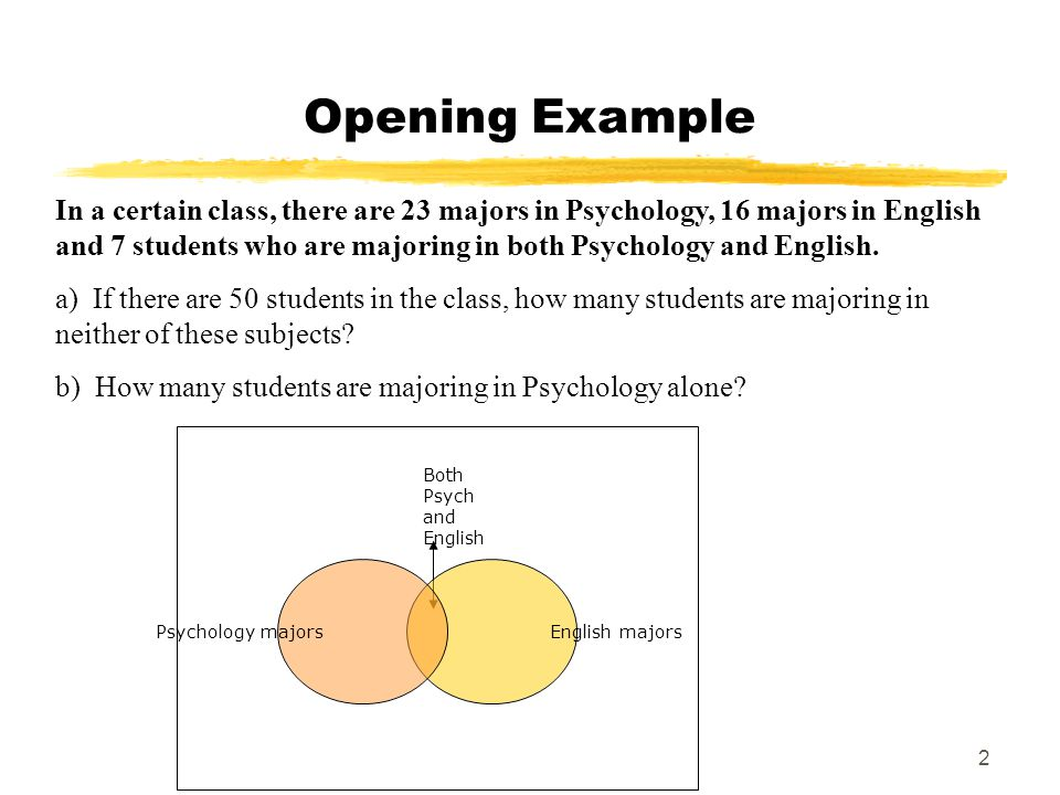 2 Opening Example In a certain class, there are 23 majors in Psychology, 16 majors in English and 7 students who are majoring in both Psychology and English.