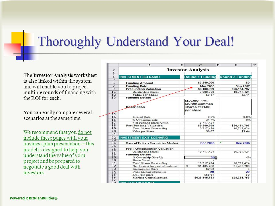 Powered x BizPlanBuilder® Thoroughly Understand Your Deal.