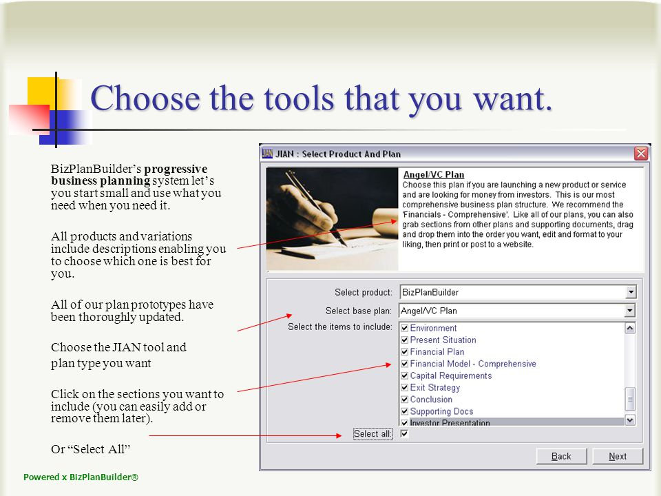 Powered x BizPlanBuilder® Choose the tools that you want.