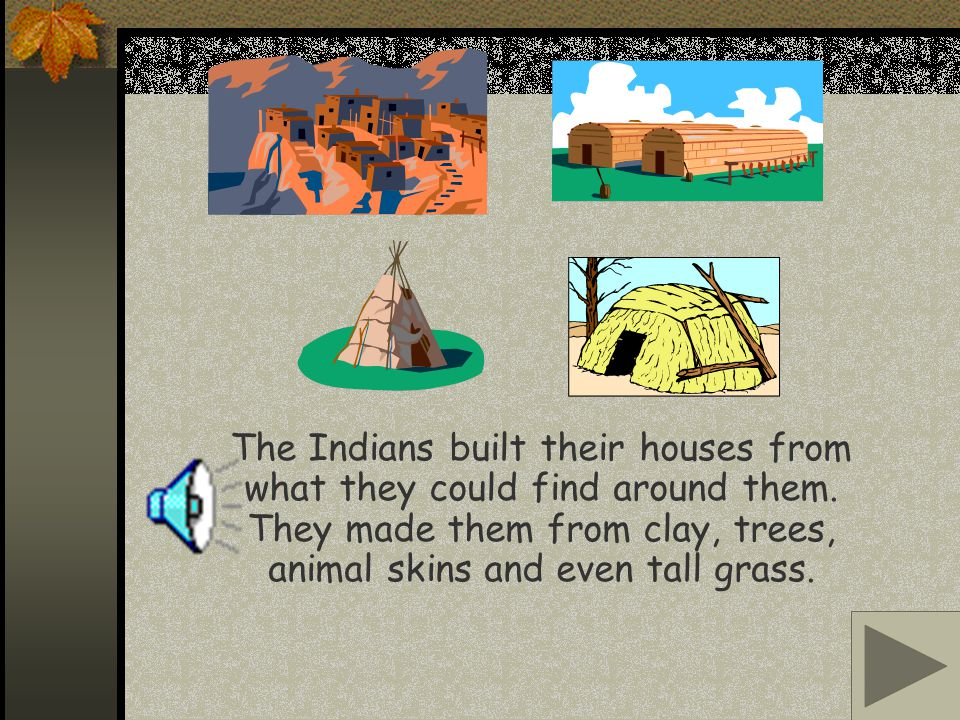 The Indians built their houses from what they could find around them.