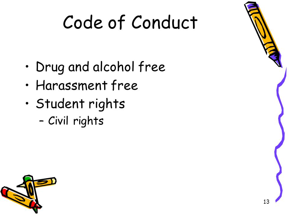 13 Code of Conduct Drug and alcohol free Harassment free Student rights –Civil rights