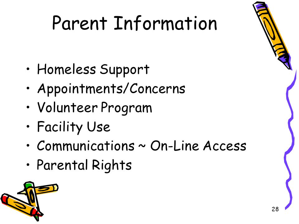 28 Parent Information Homeless Support Appointments/Concerns Volunteer Program Facility Use Communications ~ On-Line Access Parental Rights
