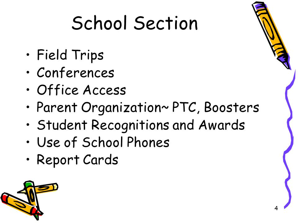 4 School Section Field Trips Conferences Office Access Parent Organization~ PTC, Boosters Student Recognitions and Awards Use of School Phones Report Cards