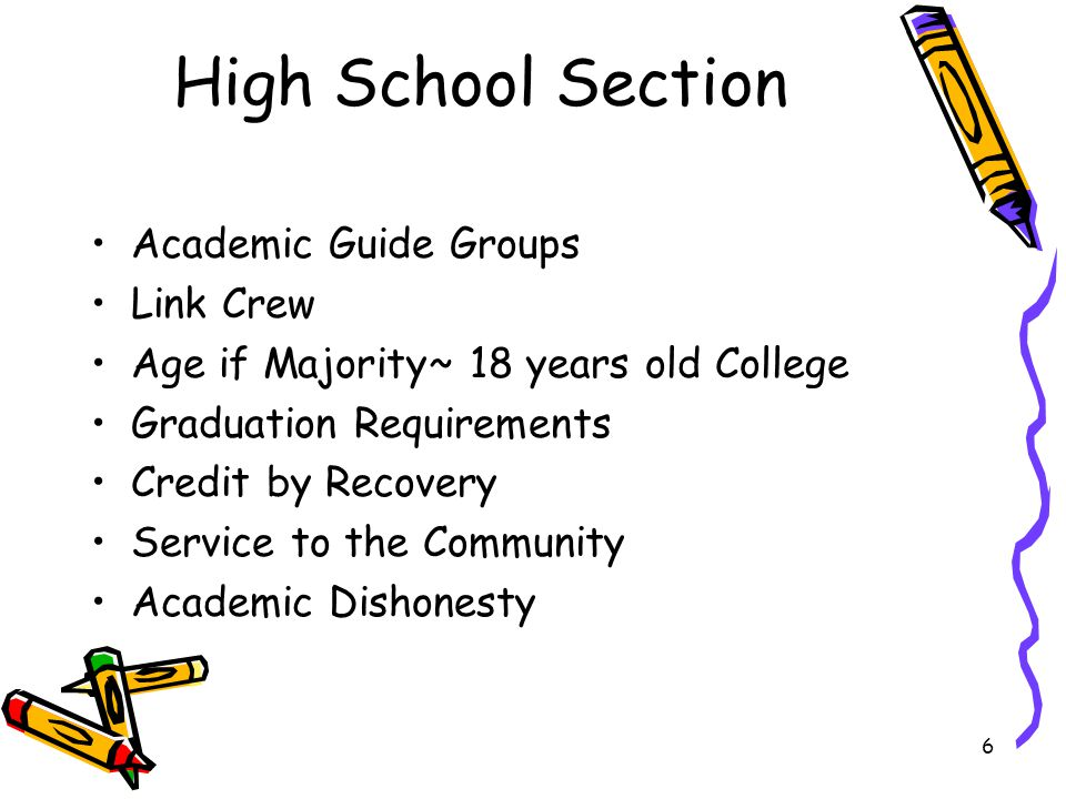 6 High School Section Academic Guide Groups Link Crew Age if Majority~ 18 years old College Graduation Requirements Credit by Recovery Service to the Community Academic Dishonesty