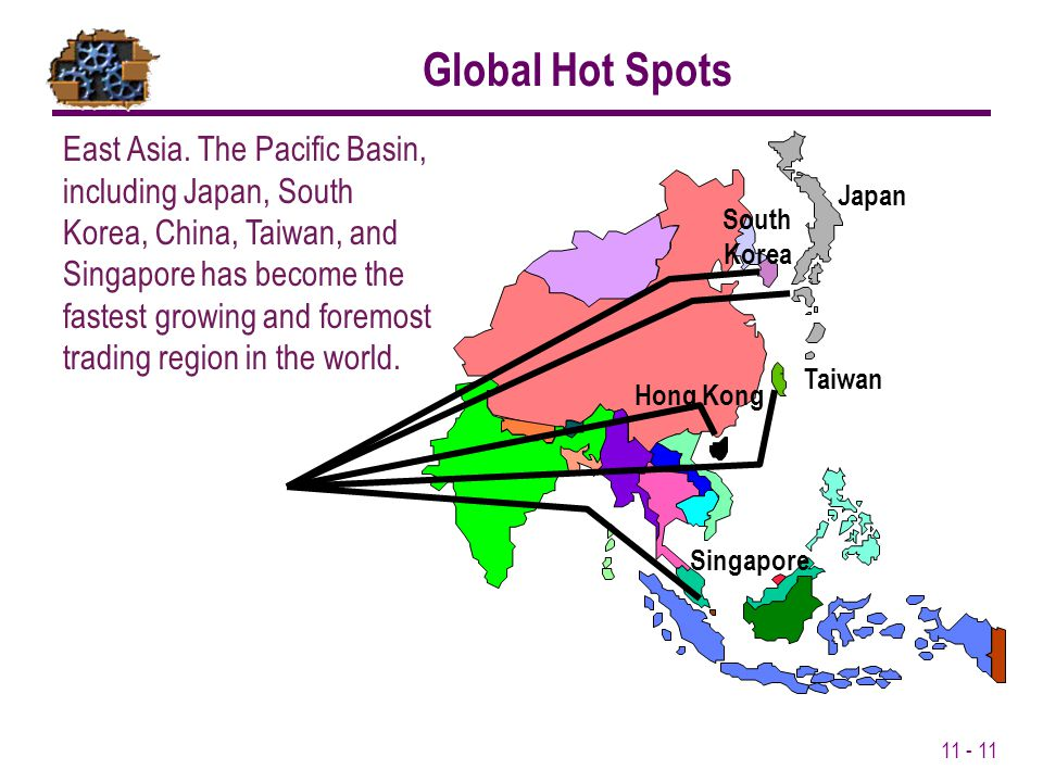 11 - 11 East Asia. The Pacific Basin, including Japan, South Korea, China, Taiwan, and Singapore has become the fastest growing and foremost trading r