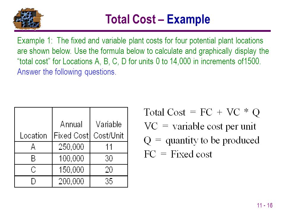 11 - 16 Example 1: The fixed and variable plant costs for four potential plant locations are shown below. Use the formula below to calculate and graph