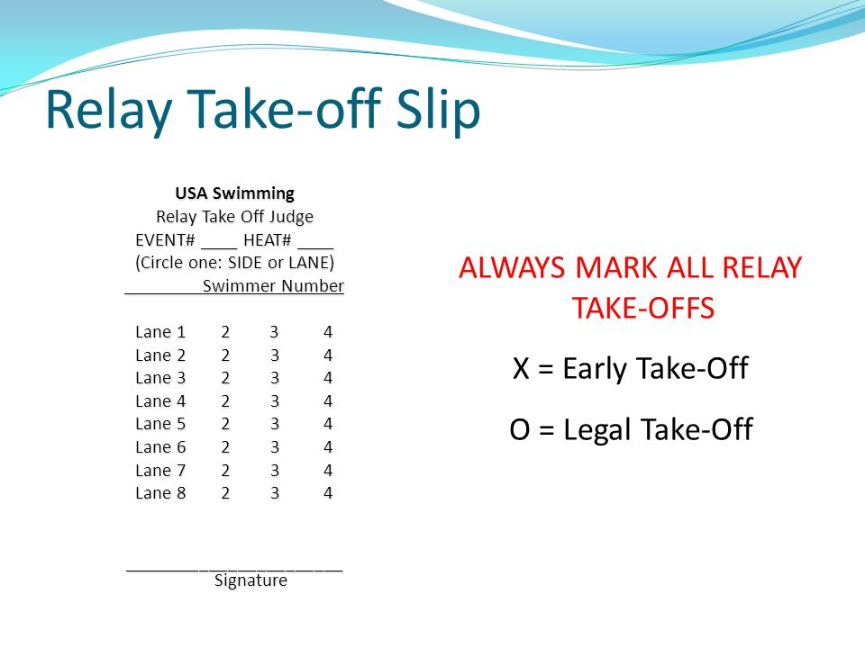 Relay Take-off Slip USA Swimming Relay Take Off Judge EVENT# ____ HEAT# ____ (Circle one: SIDE or LANE) Swimmer Number Swimmer Number Lane 1 2 3 4 Lan