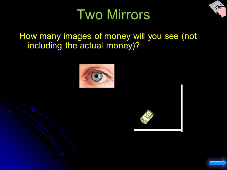 Changing distance doesnt change what you see of yourself ACT: Plane Mirrors You are standing in front of a short flat mirror which is placed too high,