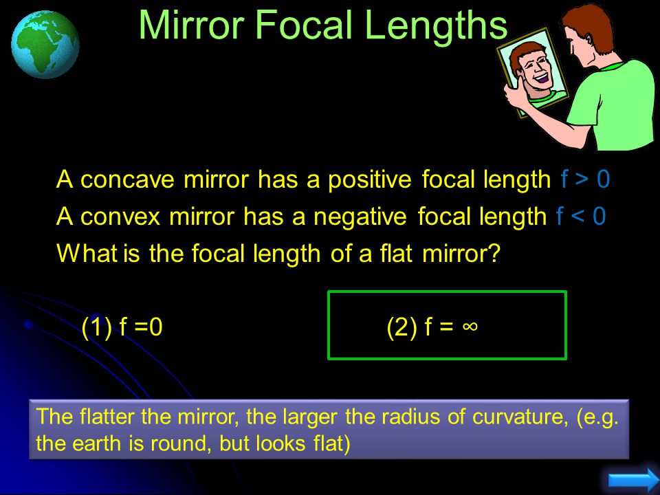 R f 1) 2) 3) p.a. Understanding Which ray is NOT correct? Ray through centre should reflect back on self.