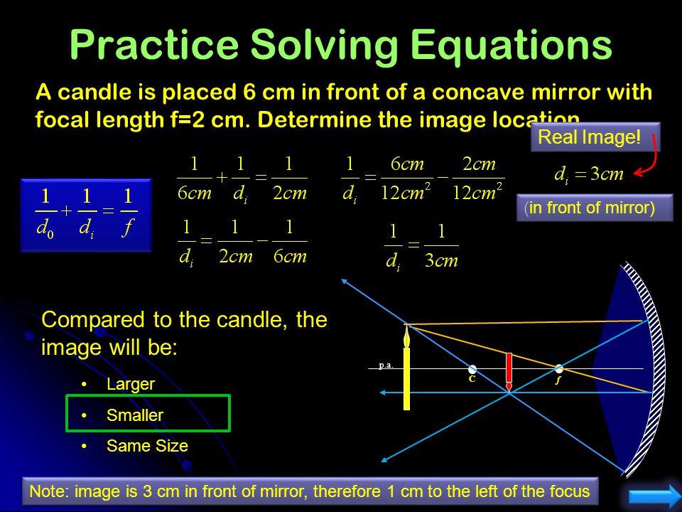 O I Magnification Equation dodo dodo hoho Angle of incidence didi hihi Angle of reflection didi h o = height of object: Positive:_______________ h i =