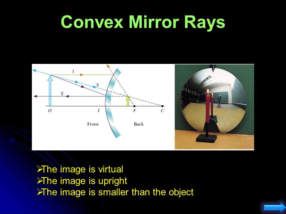 O Convex Mirror Rays c 1) Parallel to principal axis reflects through f. 3) Through f, reflects parallel to principal axis. #3 I 2) Through center. #2