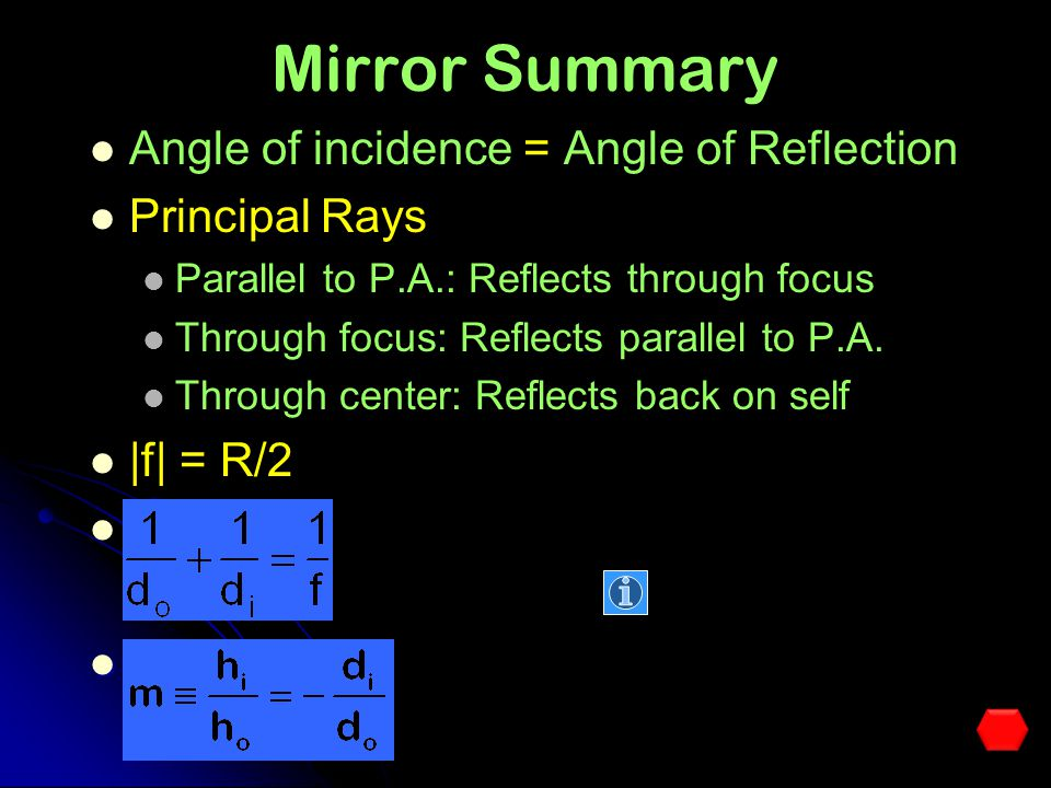 Problem C f A convex mirror has a radius of curvature of 80.0 cm. An object 1.7 m high is placed 4.5 m in front of the mirror. a)At What distance from