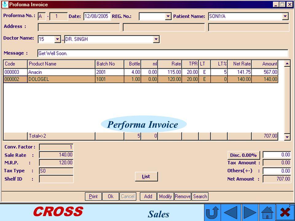 CROSS Performa Invoice Sales