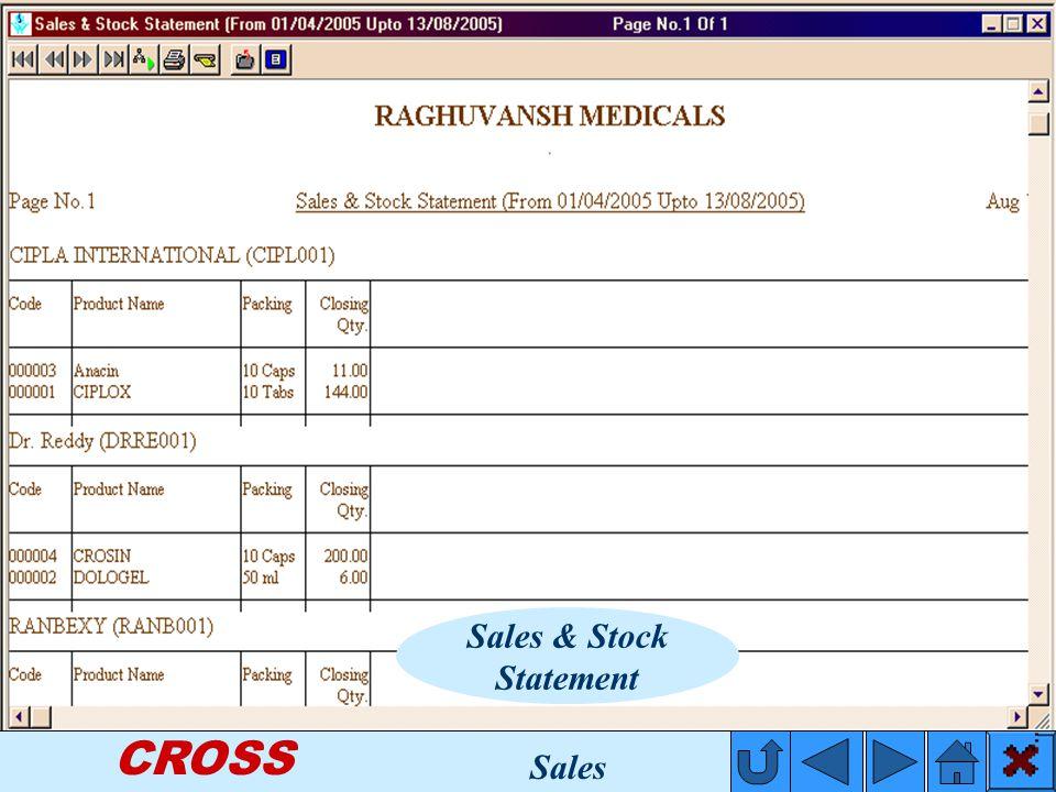 CROSS Sales & Stock Statement Sales