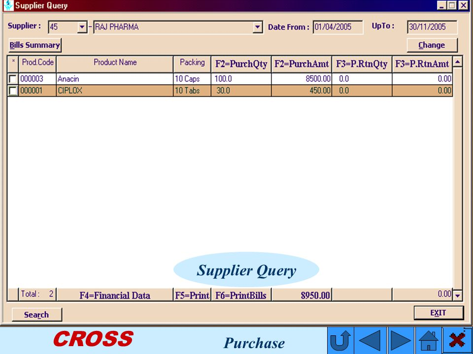 CROSS Supplier Query Purchase