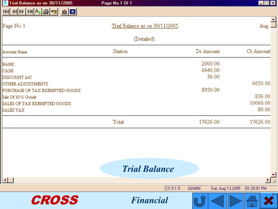 CROSS Trial Balance Financial