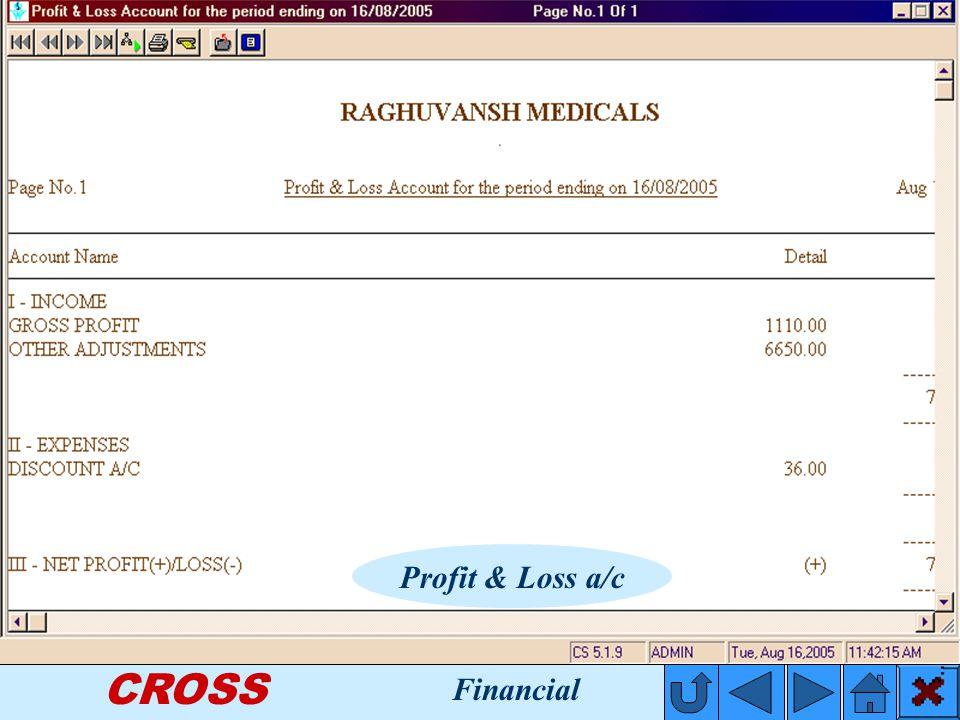 CROSS Profit & Loss a/c Financial
