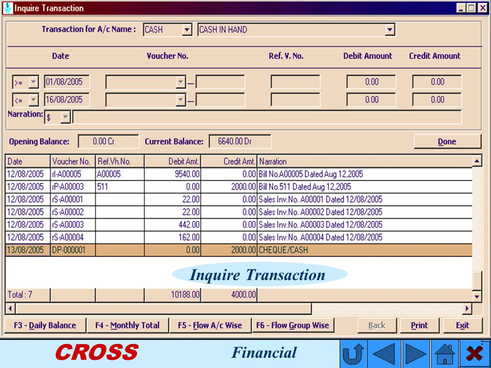 CROSS Inquire Transaction Financial