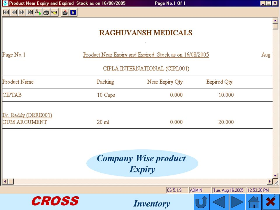 CROSS Company Wise product Expiry Inventory
